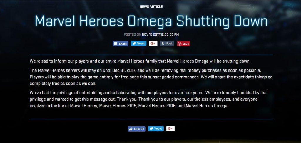 漫威英雄 Marvel Heroes 結止營運