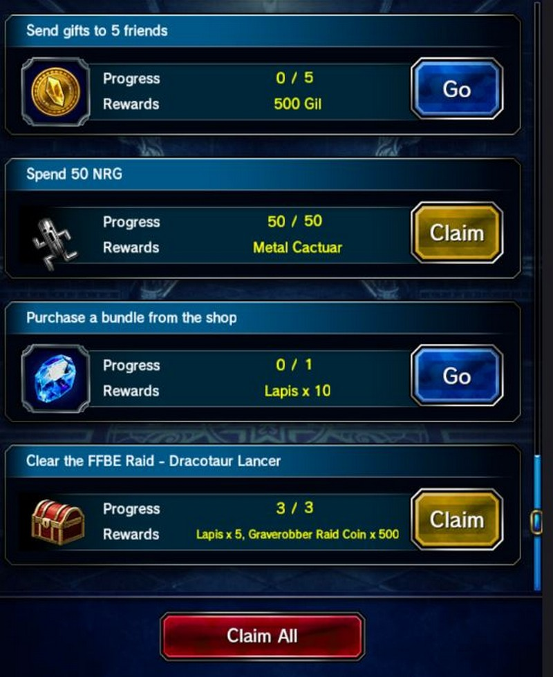 Daily Quest FFBE