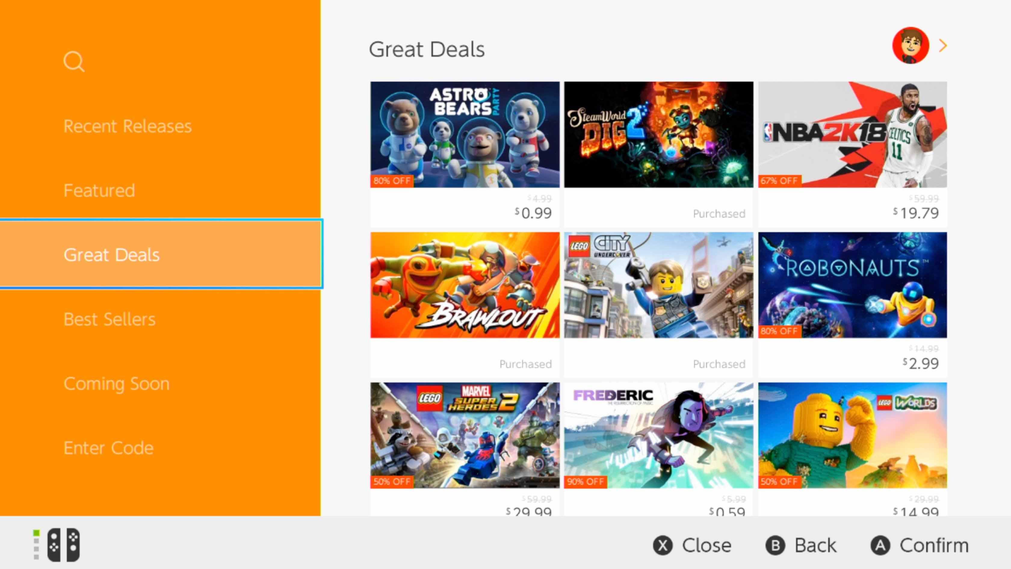eShop Nintendo Great deals