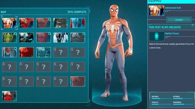spider man ps4 unlock Advanced Suit