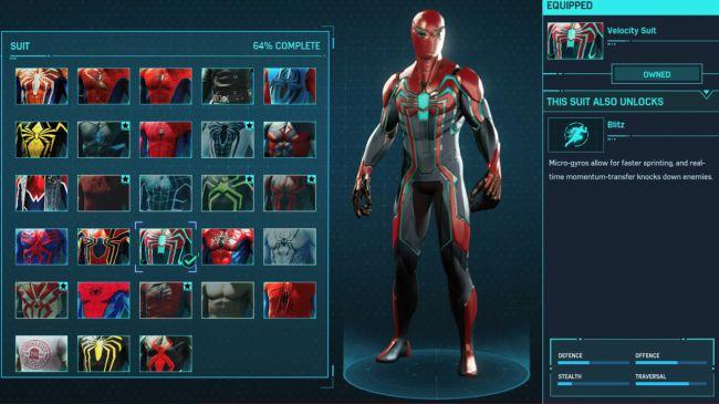 spider man ps 4 Velocity Suit