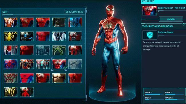 spider man ps 4 Spider Armor MK IV Suit