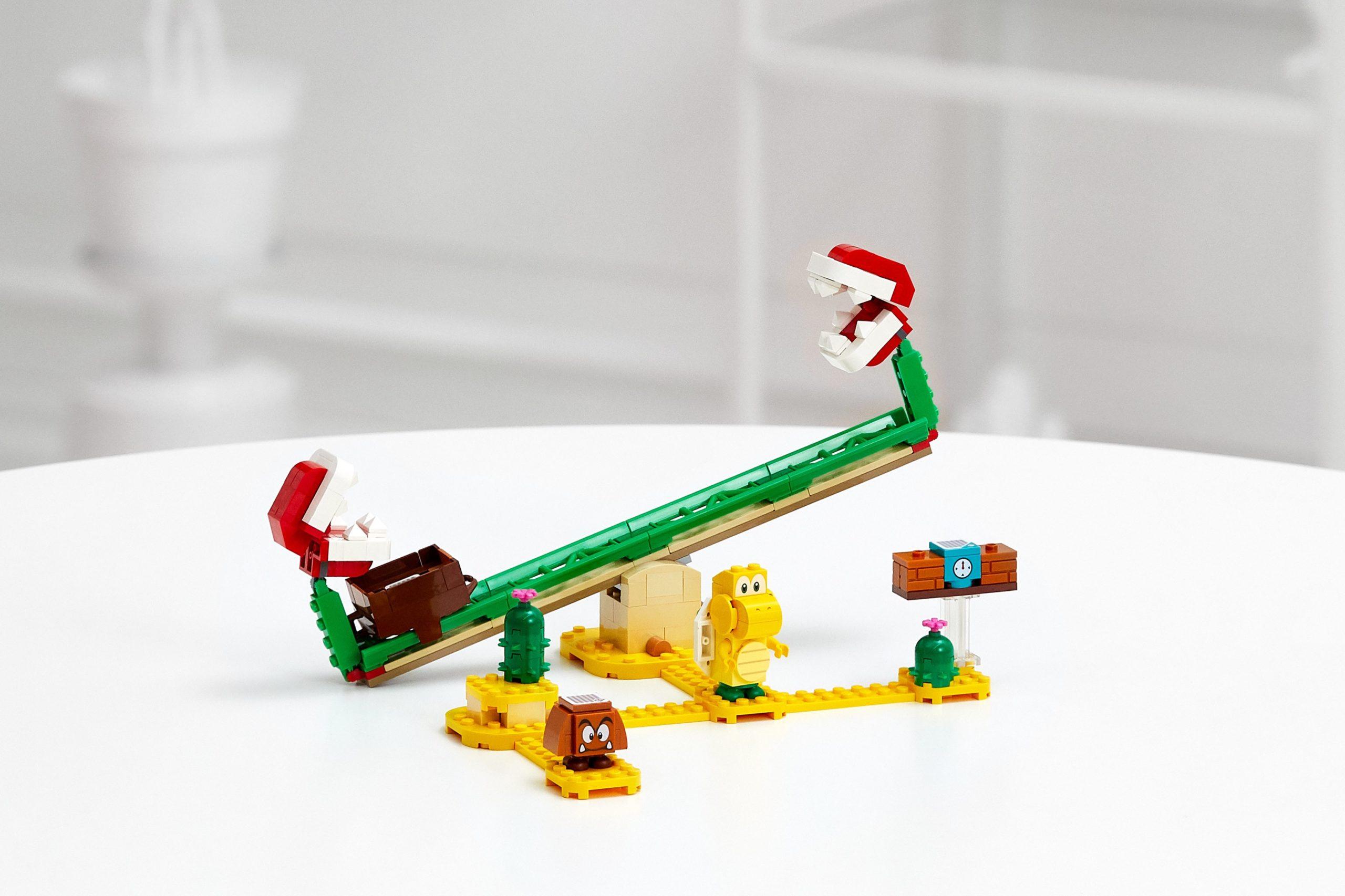樂高超級瑪利歐系列公開首波產品「吞食花翹翹板」,內附有栗寶寶與慢慢龜人偶